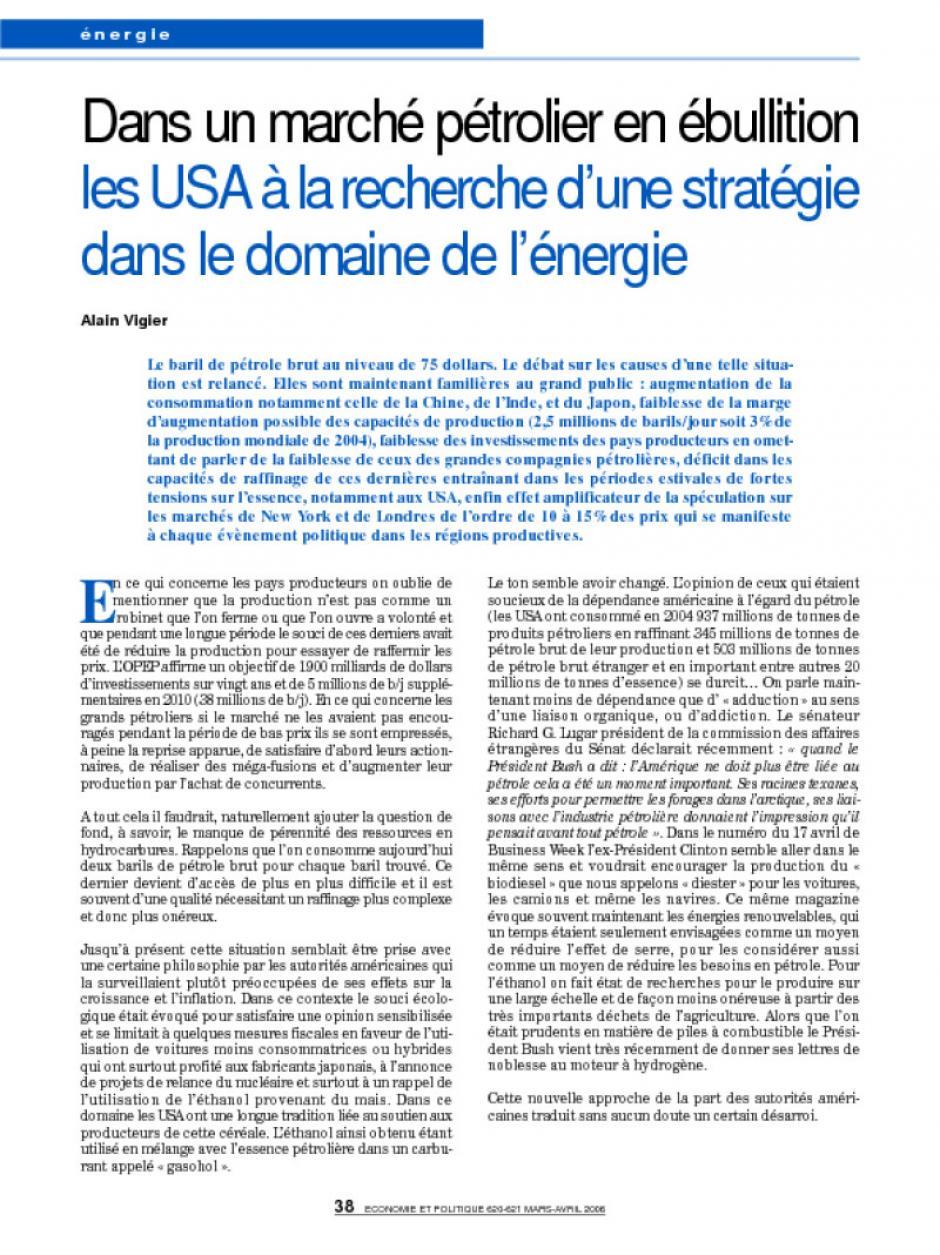 Dans un marché pétrolier en ébullition les USA à la recherche d'une stratégie dans le domaine de l'énergie