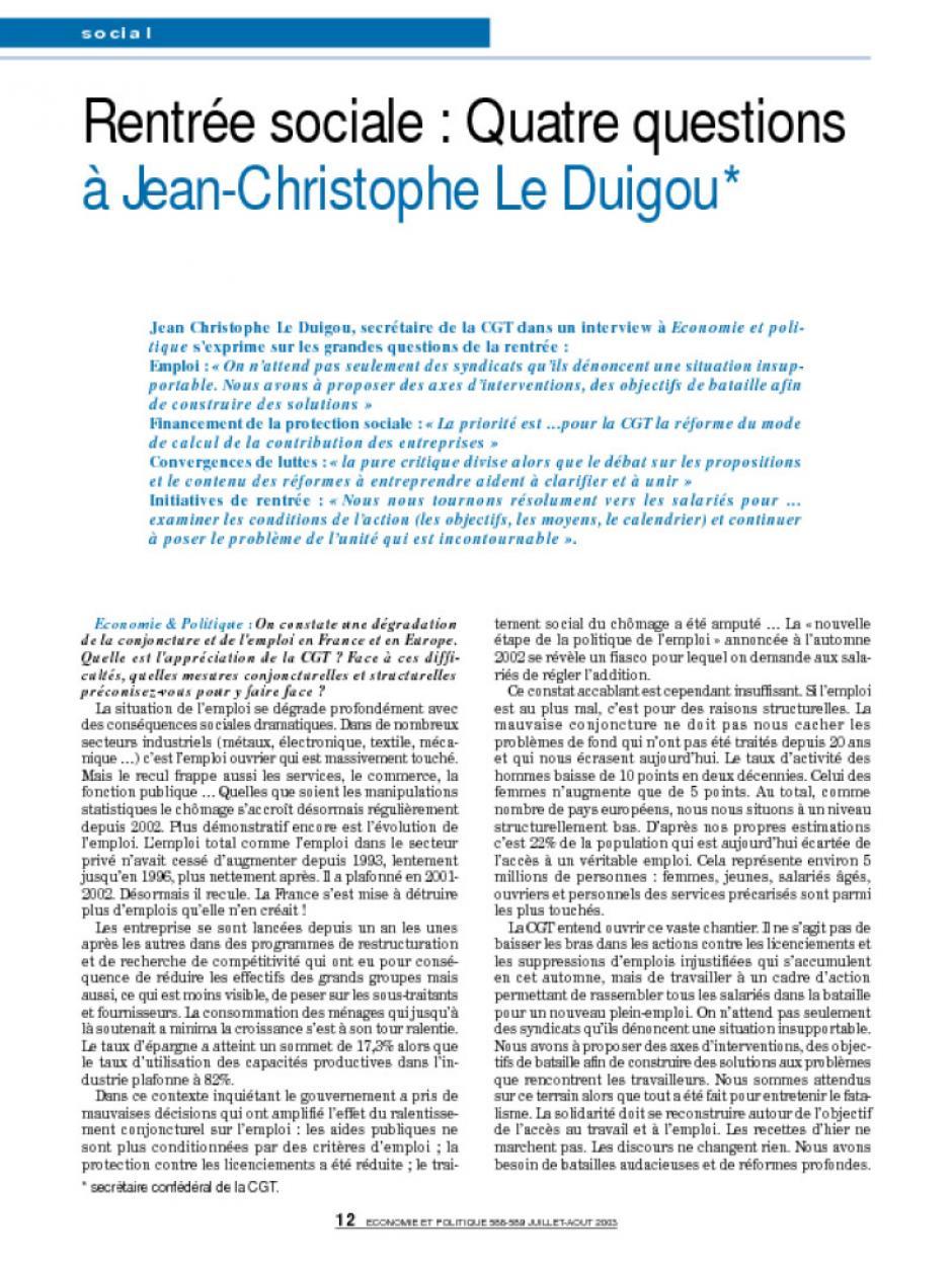 Rentrée sociale : Quatre questions à Jean-Christophe Le Duigou