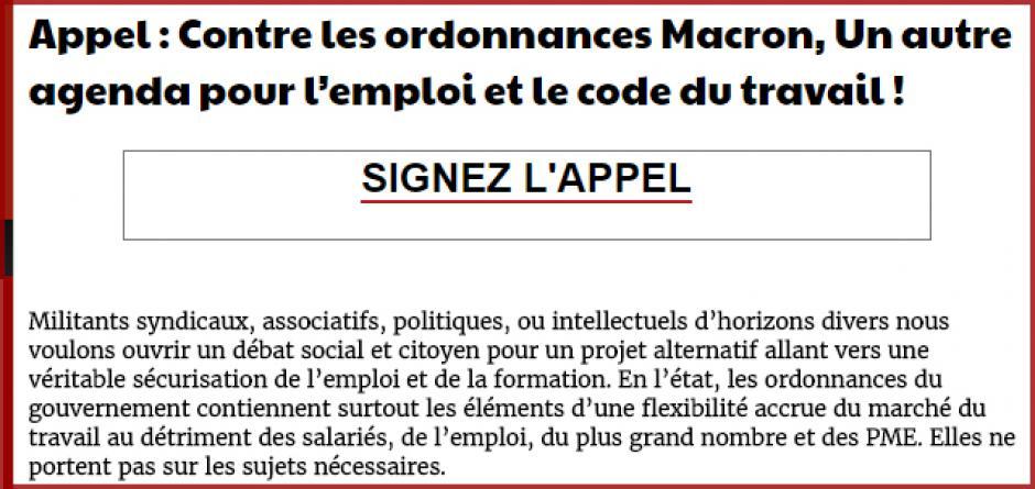Appel : Contre les ordonnances Macron, Un autre agenda pour l'emploi et le code du travail !