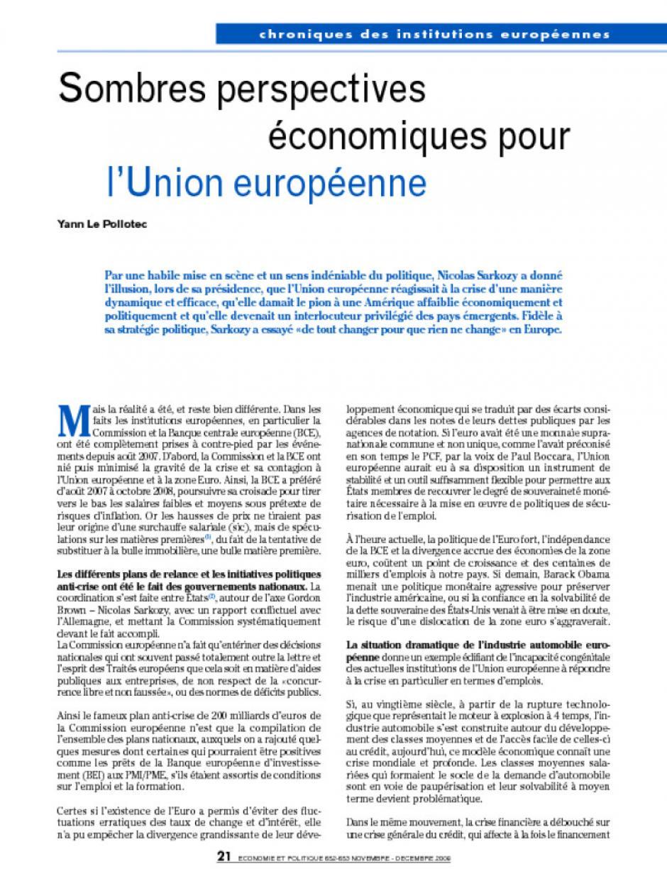 Sombres perspectives économiques pour l'Union européenne