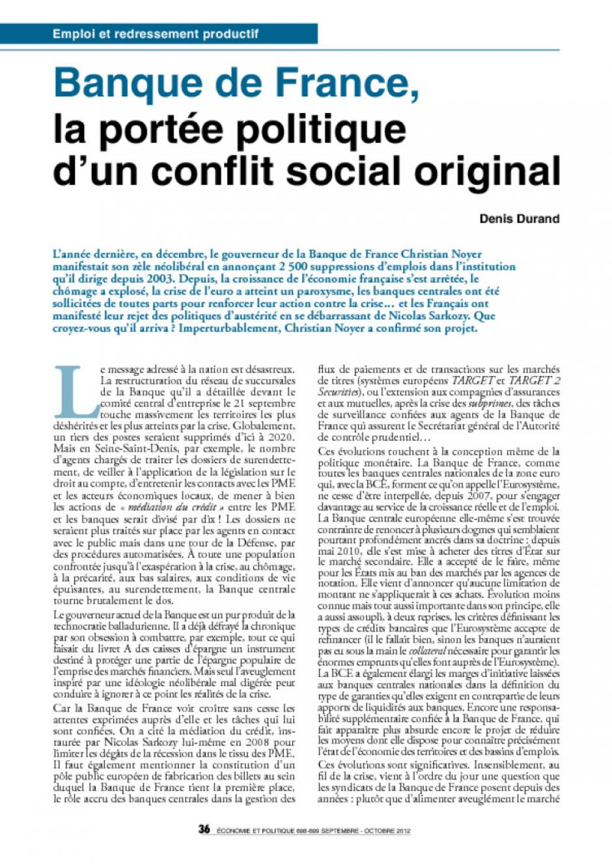 Banque de France, la portée politique  d'un conflit social original
