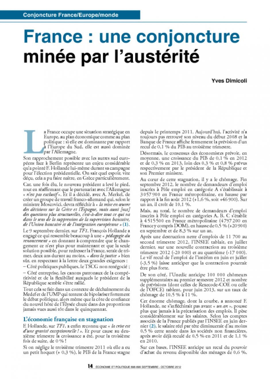France : une conjoncture minée par l'austérité