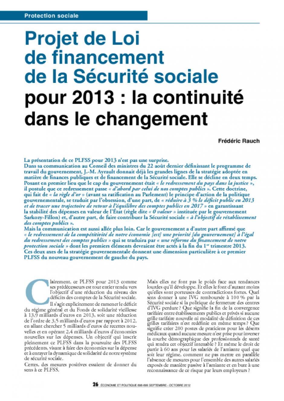 Projet de Loi de financement de la Sécurité sociale  pour 2013 : la continuité dans le changement