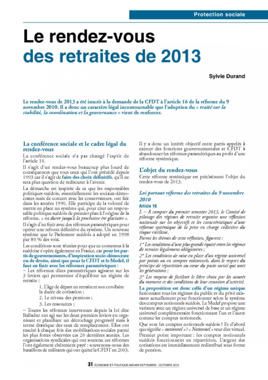 Le rendez-vous des retraites de 2013
