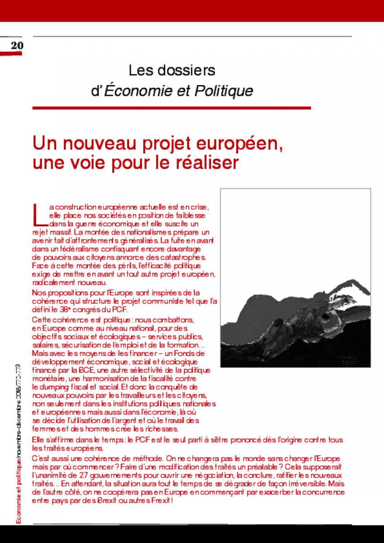 Un nouveau projet européen,  une voie pour le réaliser