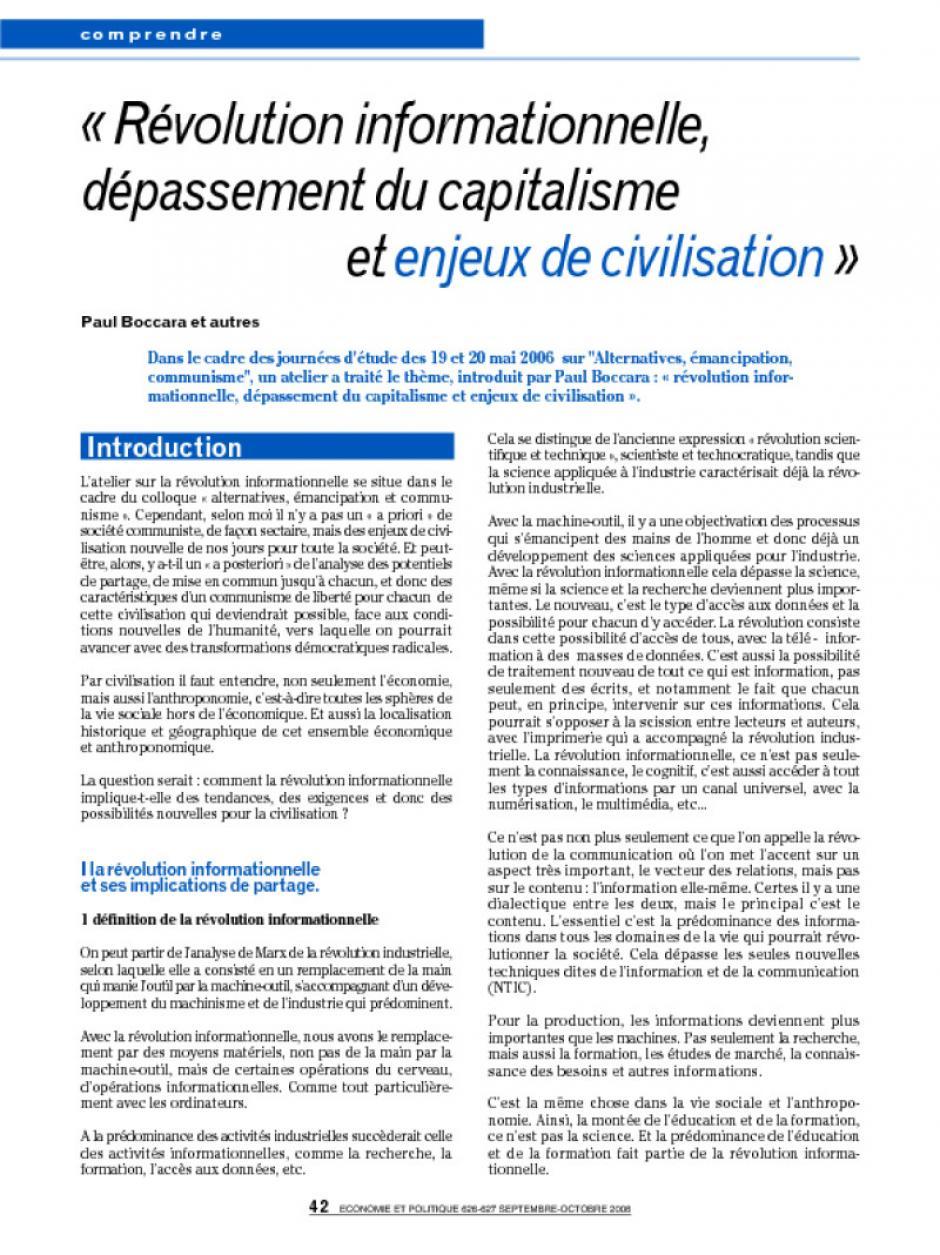 « Révolution informationnelle, dépassement du capitalisme  et enjeux de civilisation »
