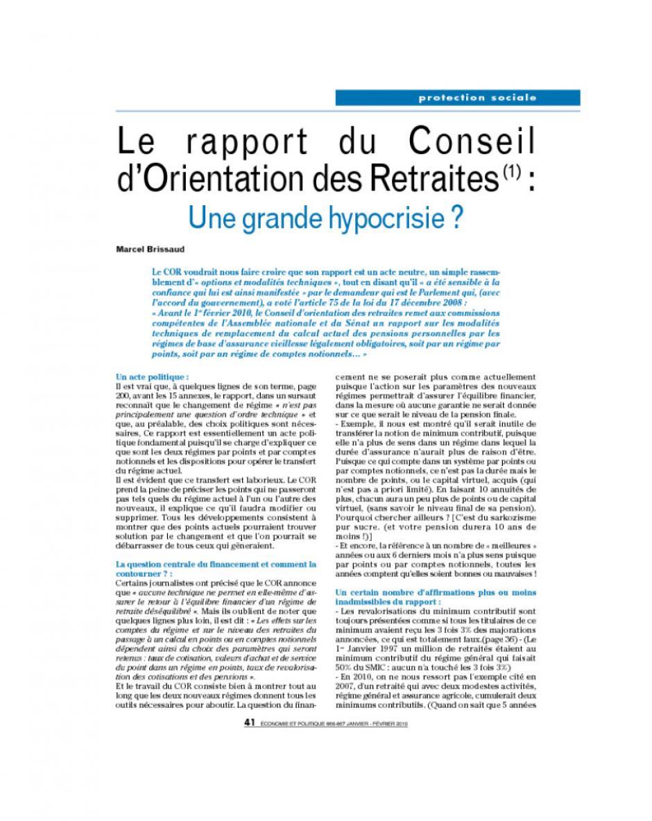 Le  rapport    du   Conseil d'Orientation des Retraites(1) : Une grande hypocrisie ?