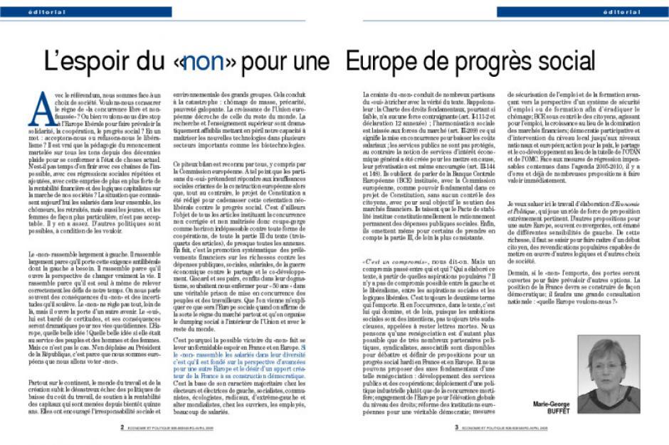 L'espoir du «non» pour une Europe de progrès social
