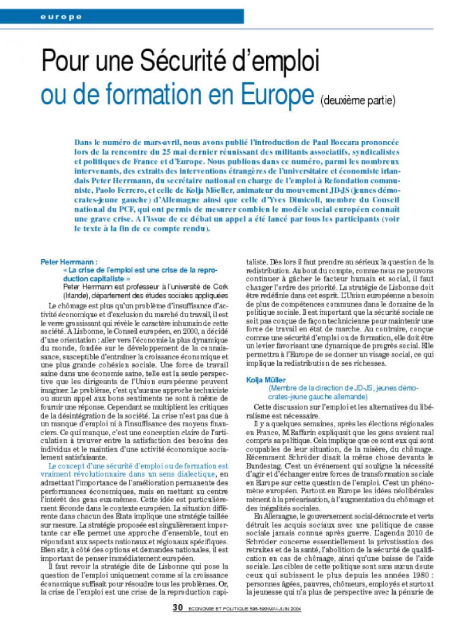 Pour une Sécurité d'emploi ou de formation en Europe (deuxième partie)
