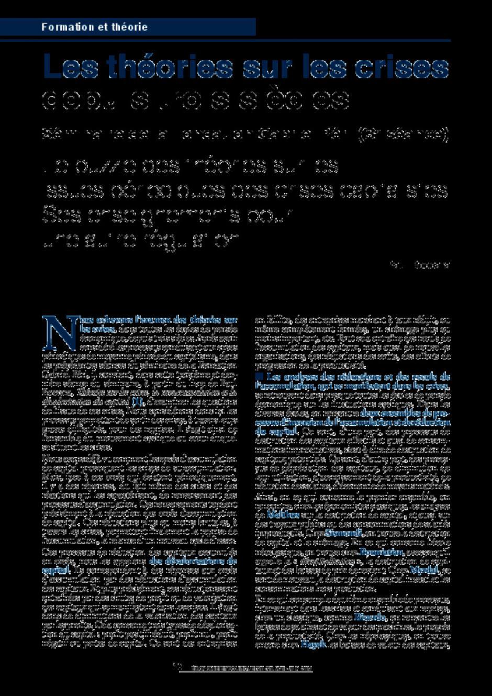 Les théories sur les crises depuis trois siècles Séminaire de la Fondation Gabriel Péri (3e séance)